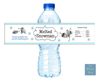 DIY Printable INSTANT DOWNLOAD Melted Snowman Water Bottle Labels Personalized Birthday Party Favors