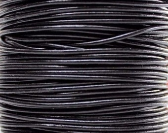 10 Meters of 1.0MM Black Round Leather Cord (10 yards) (10m)