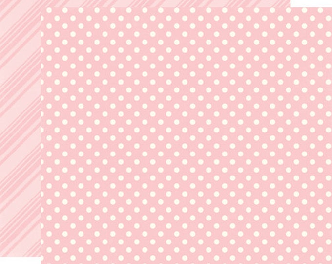 2 Sheets of Echo Park Paper DOTS & STRIPES Spring 12x12 Scrapbook Paper - Peony (DS15004)