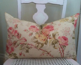 Shabby Chic Pillow Cover, Cottage Pillow Cover, Reversible