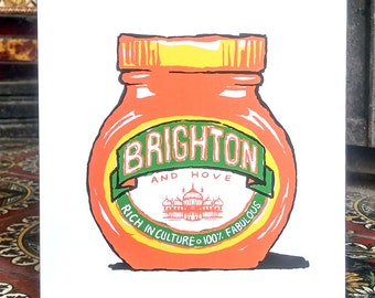 Brighton & Hove Marmite? - greeting card - in Orange -  inspired by the yeasty spread!