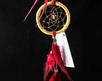 Burgundy Dreamcatcher with Garnets and a crystal, 3 inch, Car Dreamcatcher, red dream catcher
