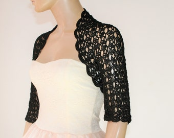 Wedding Bridal Bolero Shrug Lace Crochet Shrug Boleros silk vascose black