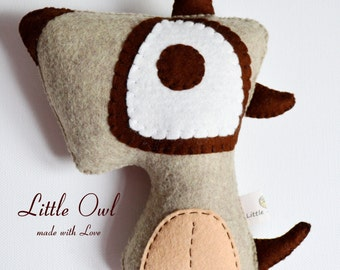 Rusty The Dog  Felt Little Owl Toy/Home Decoration
