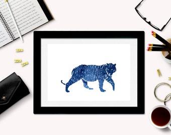 Downloadable Tiger Art Print - Tiger Silhouette - Tiger Download - Tiger Printable - Galaxy Art - Space Art - Tiger Decor - Instant Download