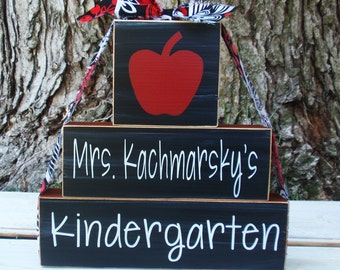 3- Block Stack The Best Teachers Teach From The Heart Custom Name And Grade-Painted Wooden Blocks-Country Decor-Shabby
