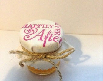 Happily Ever After Wedding Favours filled with Pure Welsh Honey Mini Jars Vintage style Summer Wedding