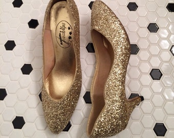 Gold Lamé Glitter Atomic Burlesque Disco Cinderella Pumps Shoes Heels holiday party costume