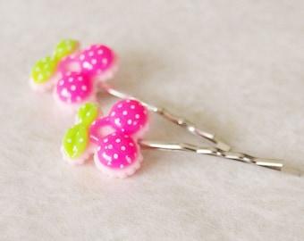 Kawaii Pink Cherry Bobby Pins / Polka Dot Cherry Hair Clip Set / Pin-Up Cherries Hair Pins / Set of 2 Hair Pins