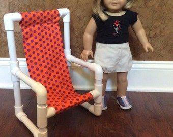 Bright Orange and Purple Polka Dotted Doll Chair