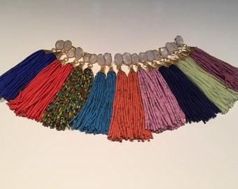 Moonstone Stud Beaded Tassel Earrings