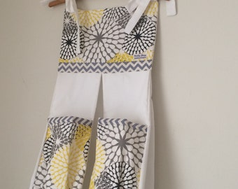 Baby Nappy/Diaper Stacker,  Lemon, grey & white