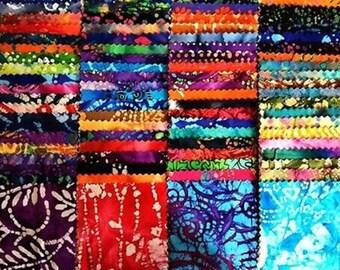 """100 Assorted BATIK pre cut charm pack 5"""" squares 100% cotton fabric quilt"""