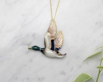 Mallard Duck Pendent Necklace