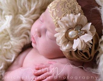 Ivory Headband/Beige Headband/Flower Girl Headband/Baby Headband/Infant Headband/Newborn Headband/Toddler Headband/Girls Headband
