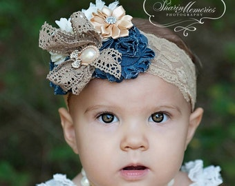 Denium Headband/Shabby Chic Headband/Infant Headband/Baby Headband/Newborn Headband/Toddler Headband/Girls Headband/Birthday Headband