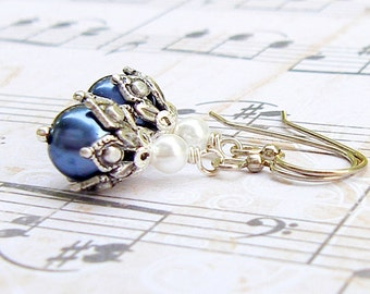 Charcoal Buds - vintage style antique silver earrings