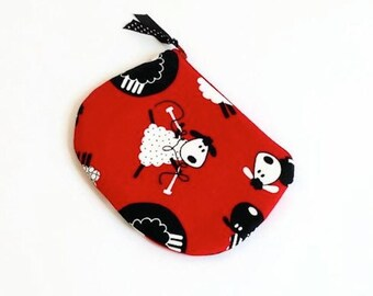 Small Pouch with Zipper / Cute Sheep Red Purse / Handmade Small Zip Bag