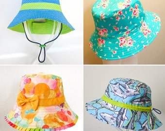ULTIMATE BUCKET HAT Pattern! Newborn to Adult. Brims; short, long, adjustable, ruffle, bonnet, ...