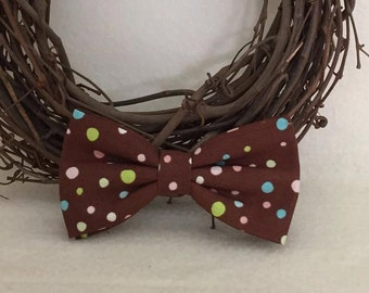 Dog Bow / Bow Tie - Cocoa Brown w Colorful Polka Dots