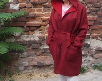 Hoodded Coat Wool Coat Short Autumn Coat & Nara KP007