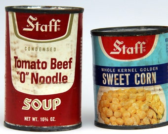 Two Unopened Cans of Food - Soup and Corn - Staff Foods - 1970's