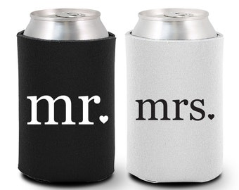 Bride and Groom Can Coolers (BG1004) Mr and Mrs Can Coolers - Bride and Groom Gift - Couple Gift - Bride and Groom Coolies