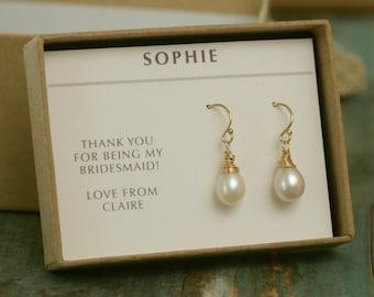Bridal pearl drop earrings gold pearl drop earrings, bridal pearl earrings, freshwater pearl drop earrings - Sophie