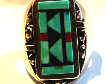 Antique AUTHENTIC Signed ZUNI Size 10.5 Handmade Inlay Coral & Turquoise Ring -- FREE Shipping to U.S.A. destinations -- ReduceD by 25 bucks