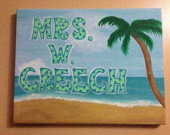 Beach sign for teacher - classroom personalized and hand painted
