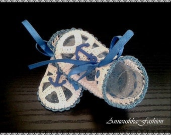 Baby boy Cotton Sandals,Boys Crochet Cotton Shoes, summer sandals in white & blue with nautical decor. Baby Shower Gift. Choose size.