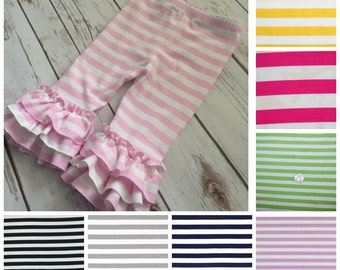 Striped Ruffle Leggings - capris or pants - 8 color options - baby, toddler, girl sizes - easter pants