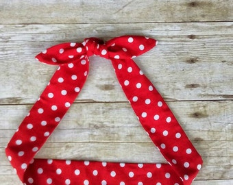 Skinny Red and white polka dot headband bandana Rosie the Riveter top knot hair tie