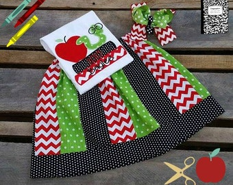 Back To School Book worm Applique with Skirt