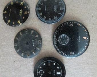 Antique Watch Dials, Vintage Watch Parts, Watch Parts, Pocket Watch Parts, Watch Dials, Black Watch Dials, Vintage Watch Faces