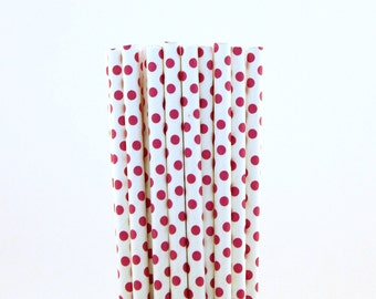 Dark Pink Small Polka Dot Paper Straws-Dark Pink Straws-Girl Baby Shower-Princess Birthday Party-Bridal Shower Decor-First Birthday Straws