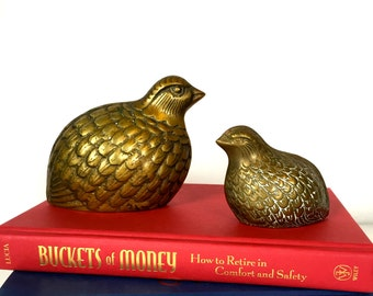 Vintage Pair of Solid Brass Quail