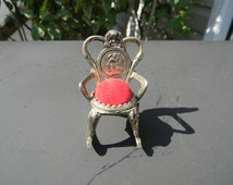 Vintage Miniature Rocking Chair Pin Cushion Chair/Doll House Furnature Red Velvet Cameo