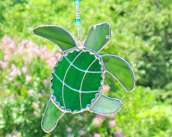 Stained glass window suncatcher ornament,  green sea turtle sealife, stained glass art,  tiki bar decor, beach house, seaside ocean decor.