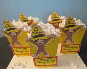 Curious George popcorn boxes(20)Centerpiece,Curious George Party,George Birthday,Monkey decoration,Monkey party,Curious popcorn boxes