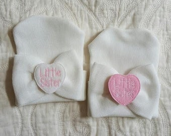 Newborn Girl Little Sister Hospital Hat, Hospital Newborn Beanie, Newborn hat, Newborn Girl hat.