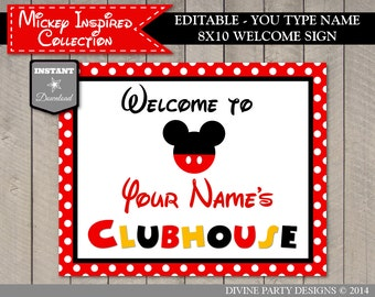INSTANT DOWNLOAD Editable Mouse 8x10 Welcome Sign / You Type Name / Printable DIY / Mouse Classic Collection / Item #1513