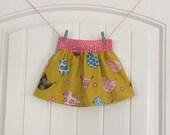 Beautiful Birdie Pink and Yellow Polka Dot Twirl ALine Baby Girl Skirt 6-12, 12-18 & 18-24 Month