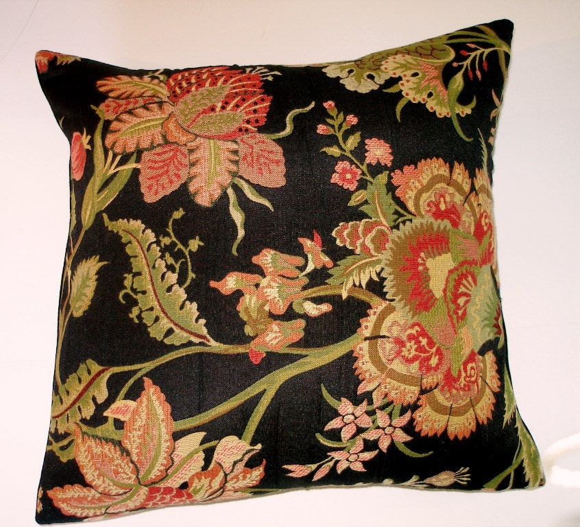 Black Floral Tapestry Throw Pillow Cover-Coral Pink