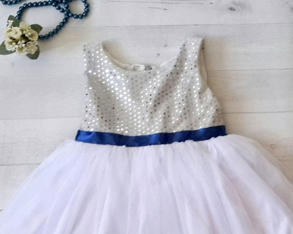 Dearmimi silver and royal blue flower girls dress silver white silver and royal blue flower girls dress silver white and royal blue satin bow mightylinksfo