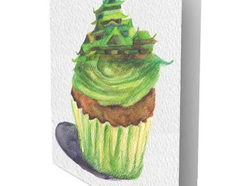 Cupcastle Green Textured Greeting Card