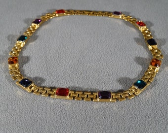 Vintage Art Deco Style Yellow Gold Tone Rectangular Multi Colored Line Link Necklace Jewelry     #33K