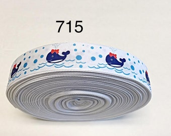 """2/3/5 yard - 7/8"""" Whale with Red Bow Swimming on White Grosgrain Ribbon Hair bow"""