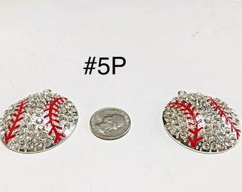 1 or 2 pc- 45 MM Baseball Sport Rhinestone Pendant For Bubblegum Necklace Jewelry