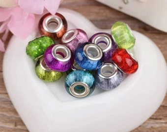 Spacer Beads -10pcs silver ring color beads charm Jewelry findings 5mm